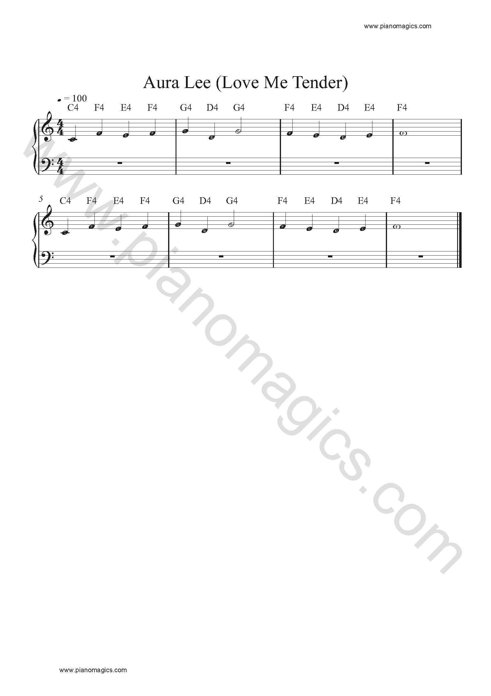 aura lee sheet music