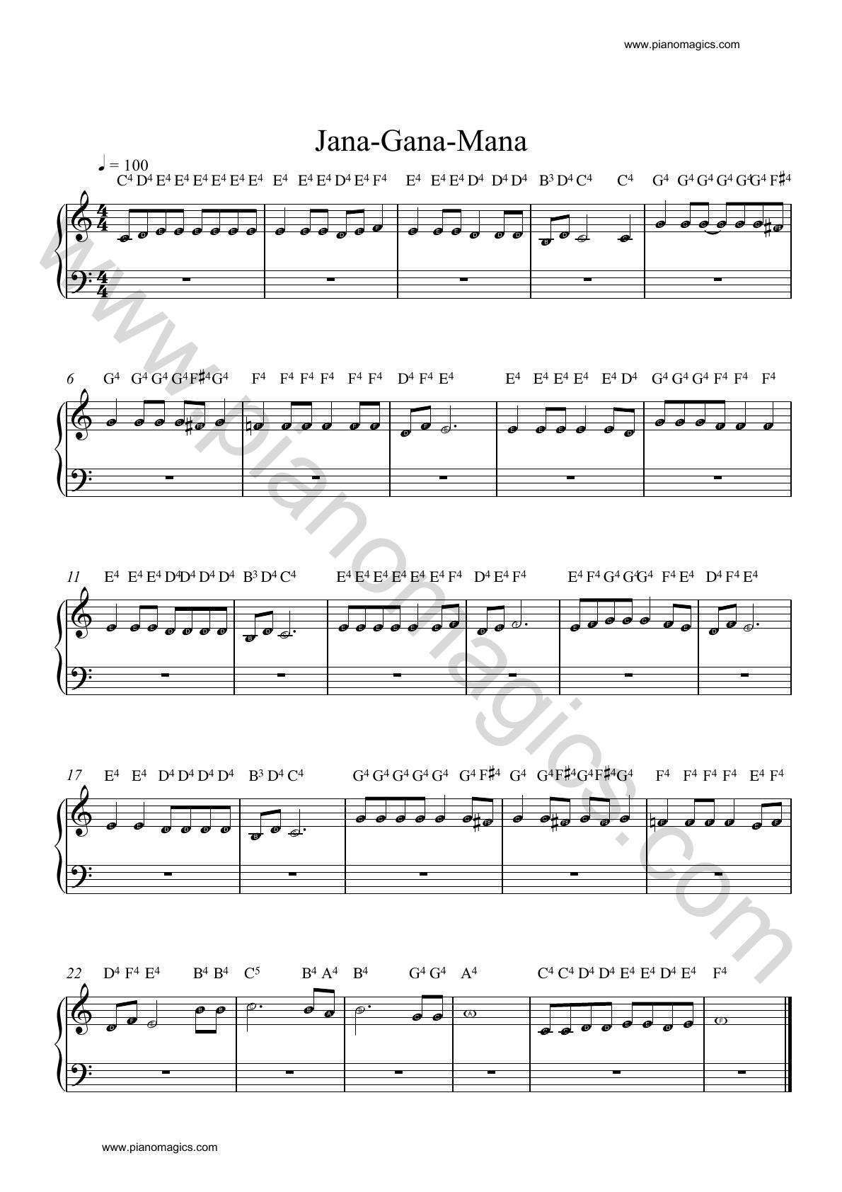 jana gana mana piano sheet music