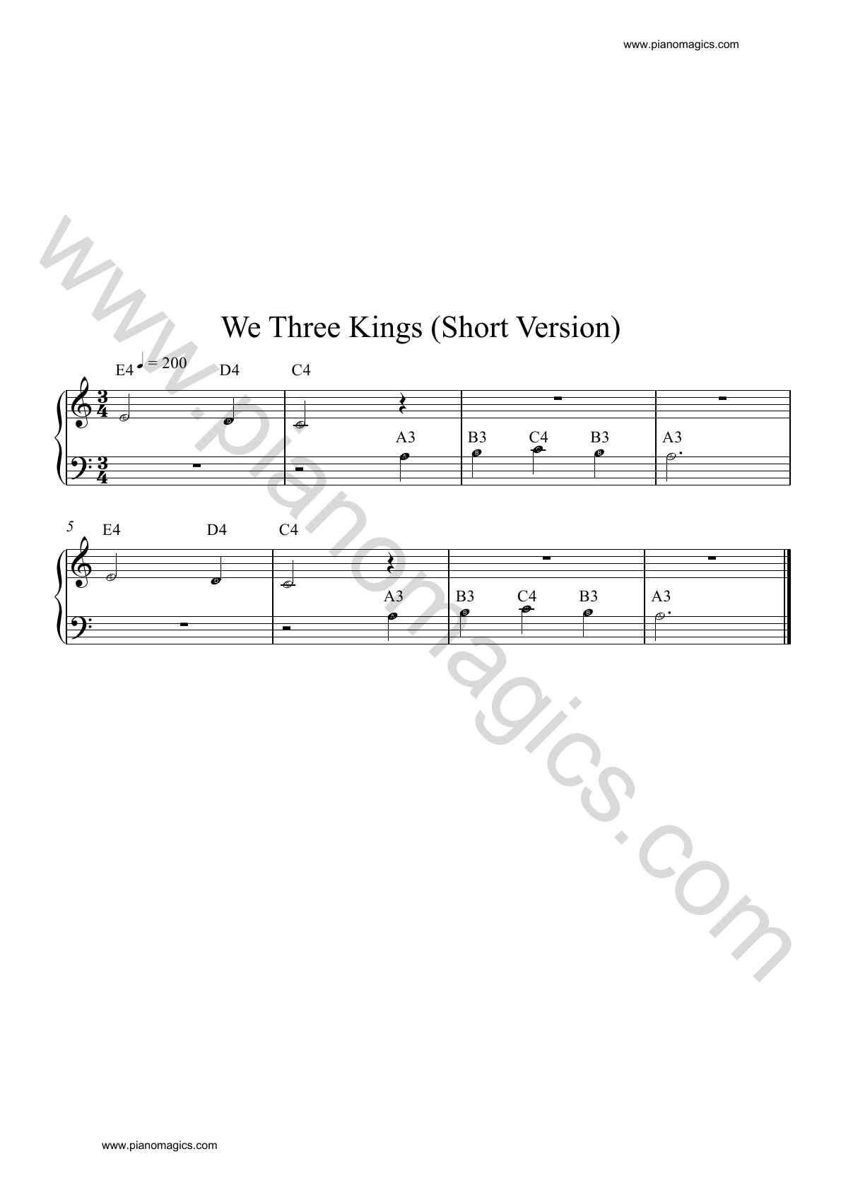 we three kings piano sheet music